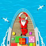 Santa Claus swimming on a yacht Stock Photography