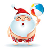 Santa Claus in swimsuit with a beach ball Royalty Free Stock Images