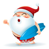 Santa Claus in swimsuit with a surfer board Stock Photography