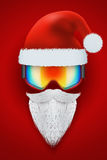 Santa Claus symbol with ski goggles and white Stock Photo