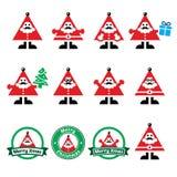 Santa Claus symboler, symbolsetiketter för glad jul Arkivbilder