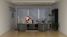 Santa Claus taking online shopping advice from a young Businessman, stock footage stock footage