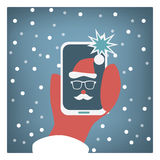 Santa claus taking selfie funny christmas card Stock Photos