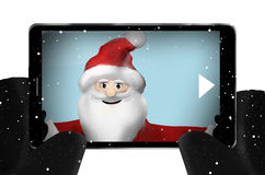 Santa Claus taking selfie photo Snowflakes Mobile Phone Smartphone Front View Stock Photography