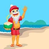 Santa Claus taking summer vacations at the beach Stock Photography