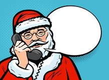 Santa Claus talking on the phone. Christmas concept. Pop art retro comic style. Vector illustration royalty free illustration