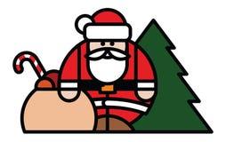 Santa Claus, Tasche von Spielwaren und von Weihnachtsbaum Stockfotografie