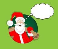 Santa Claus tecknad film inom cirkel med tankebubblan Alla objekt är i olika lager, och texttyperna behöver inte några vektor illustrationer