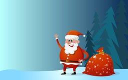 Santa Claus tecknad film med påsen av gåvorna Royaltyfri Fotografi
