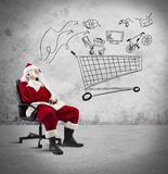 Santa Claus with telephone Royalty Free Stock Photo