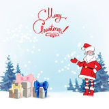 Santa Claus. Template greeting card Father Christmas hand points for a gift Stock Photo