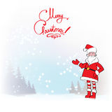 Santa Claus. Template greeting card Father Christmas hand points for a gift Stock Photography