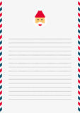 Santa Claus template. A4 sized white lined letter with Santa Claus letterhead and red, white and blue border Stock Photos