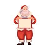 Santa Claus tenant un conseil vide Photos stock