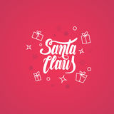Santa Claus  text Calligraphic Lettering design card template. Stylish text for Flayers, Banners, Posters. Calligraphy Font style Royalty Free Stock Photography