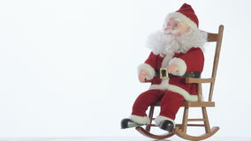 Santa Claus in thought about gifts for children in eve of Christmas stock video