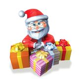Santa Claus three gifts Royalty Free Stock Image