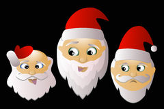 Santa Claus  three together on a black background. Santa Klausy cheerful  three together on a black background Stock Images