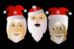 Santa Claus  three together on a black background. Santa Klausy cheerful  three together on a black background Stock Image