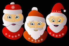 Santa Claus  three together on a black background. Santa Klausy cheerful  three together on a black background Stock Photography