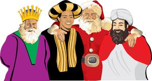 Santa claus with three wise men Stock Photo