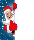 Santa Claus Thumb Up blank billboard starry snowing sky. Santa Claus Thumb Up behind blank white billboard sign against blue starry snowing sky Stock Photo