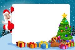 Santa Claus Thumb Up Frame Xmas Tree Stock Photo