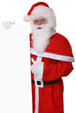 Santa Claus thumbs up on Christmas holding empty banner with cop Stock Image