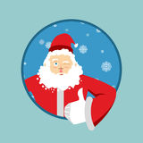 Santa Claus thumbs up well and winks. Sign all right. Merry Christmas character. Hand showing ok. Gesture of hand. Good royalty free illustration