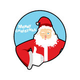 Santa Claus thumbs up well and winks. Sign all right. Merry Chri Royalty Free Stock Photo