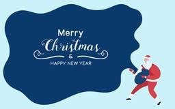Santa Claus tient le sac de Santa et Noël et la bonne année des textes d'exposition le Joyeux illustration de vecteur