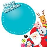 Santa Claus, Tiere und Geschenkboxen Lizenzfreies Stockfoto