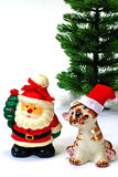 Santa Claus and tiger and  christmas tree Stock Images