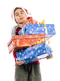 Santa Claus tired boy hard worker Stock Images