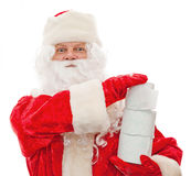 Santa Claus with toilet paper in their hands. Close up of Santa Claus with toilet paper isolated on white Royalty Free Stock Image