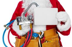 Santa Claus with a tool belt. Santa Worker with a tool belt over white background stock images