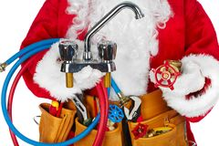 Santa Claus with a tool belt. Santa Worker with a tool belt over white background royalty free stock image