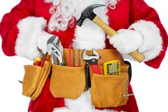 Santa Claus with a tool belt. Santa Worker with a tool belt over white background stock photography