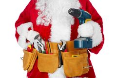 Santa Claus with a tool belt. Santa Worker with a tool belt over white background royalty free stock photo