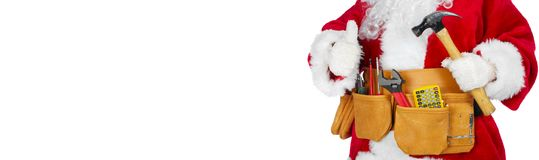 Santa Claus with a tool belt. Santa Worker with a tool belt over white background royalty free stock images