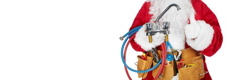 Santa Claus with a tool belt. Royalty Free Stock Image