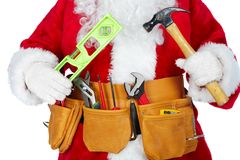Santa Claus with a tool belt. Stock Photos