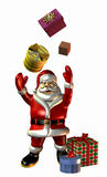 Santa Claus Tossing Gifts - with clipping path. 3D render of Santa Claus tossing gifts into the air Royalty Free Stock Image