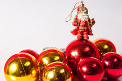 Santa Claus toy with balls decoration Royalty Free Stock Photos