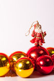 Santa Claus toy with balls decoration Royalty Free Stock Photography