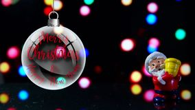 Santa Claus Merry Christmas and Happy New Year. Front with lights in the background. stock footage