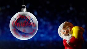 Santa Claus Merry Christmas and Happy New Year. Close up on snowing background. stock video footage