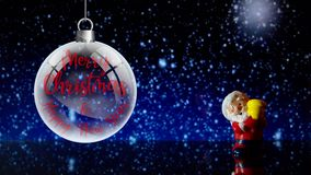 Santa Claus Merry Christmas and Happy New Year. Distant on snowing background. stock footage
