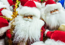 Santa Claus toy in supermarket. Royalty Free Stock Images
