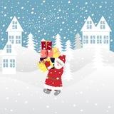 Santa Claus trägt Geschenke auf einem schneebedeckten Dorf vektor abbildung